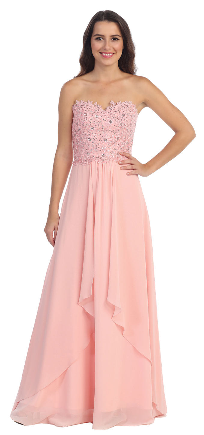 Main image of Strapless Lace Beaded Bodice Long Formal Bridesmaid Dress