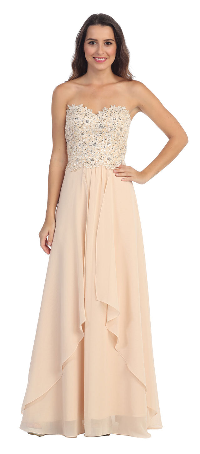 Image of Strapless Lace Beaded Bodice Long Formal Bridesmaid Dress in Champaign