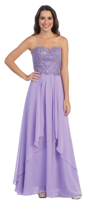 Image of Strapless Lace Beaded Bodice Long Formal Bridesmaid Dress in Lilac