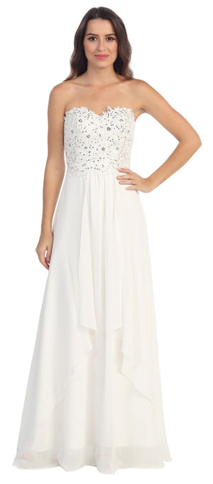 Image of Strapless Lace Beaded Bodice Long Formal Bridesmaid Dress in Off White