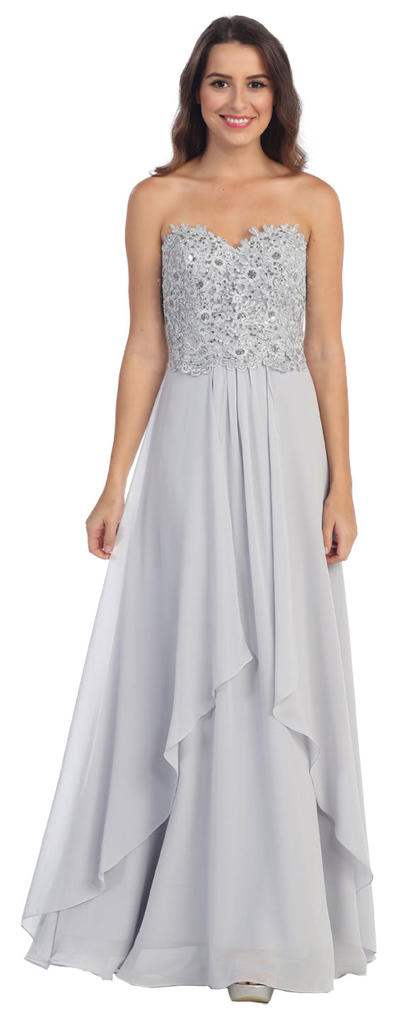 Image of Strapless Lace Beaded Bodice Long Formal Bridesmaid Dress in Silver