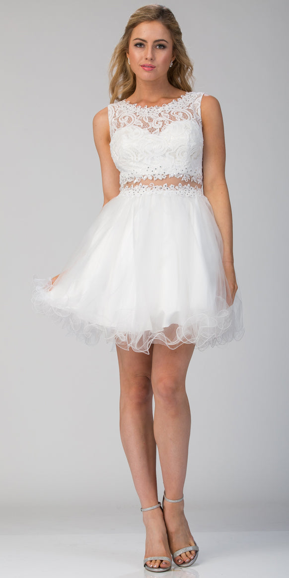 Image of Beaded Lace Bust Mesh Babydoll Skirt Short Dress in Off White