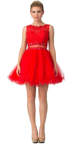 Image of Beaded Lace Bust Mesh Babydoll Skirt Short Dress in Red