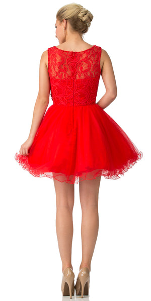 Back image of Beaded Lace Bust Mesh Babydoll Skirt Short Dress