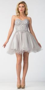 Main image of Strapless Beaded Lace Top Tulle Short Homecoming Dress