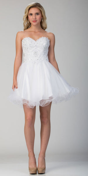 Image of Strapless Beaded Lace Top Tulle Short Homecoming Dress in White