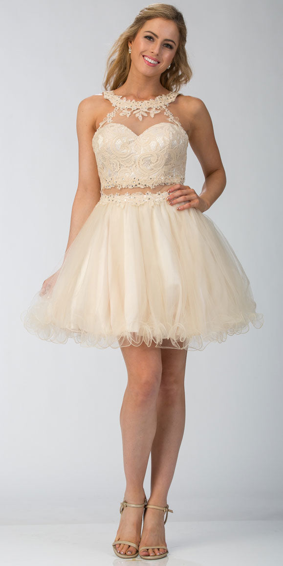 Main image of Lace High Neck Top Sheer Waist Babydoll Homecoming Dress