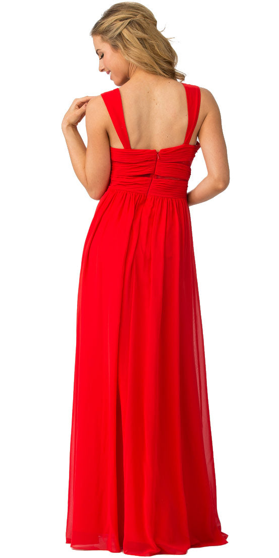 Back image of Sweetheart Neck Pleated Bust Long Bridesmaid Dress