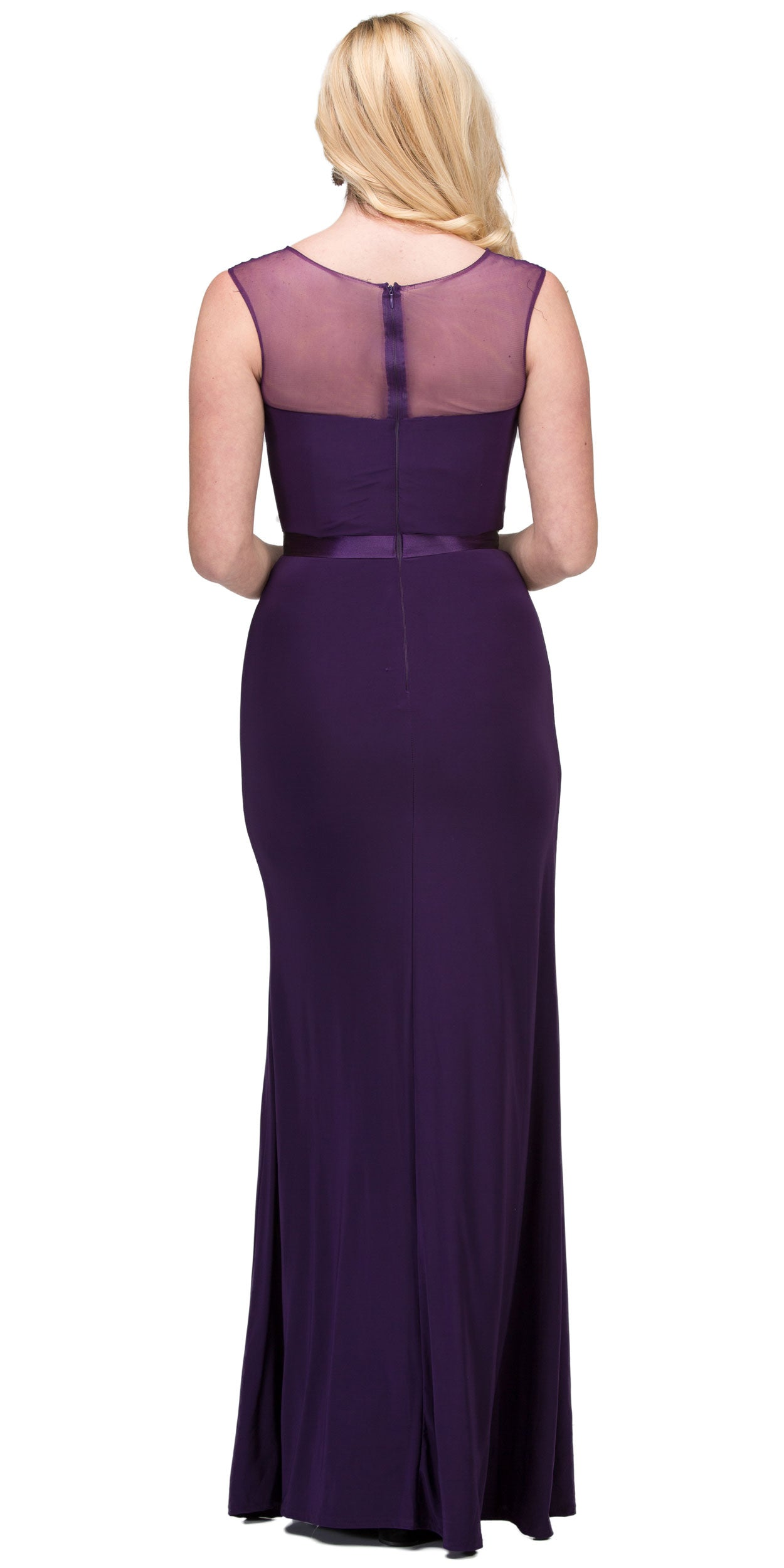 Image of Round Neck Bejeweled Waist Long Formal Bridesmaid Dress in Egg Plant