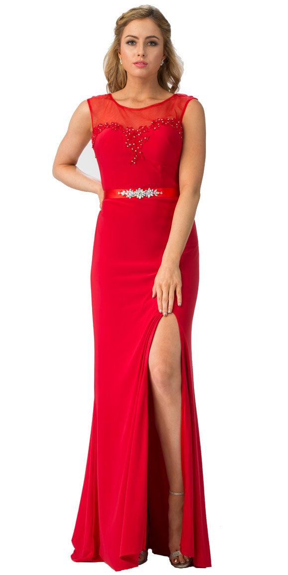 Main image of Round Neck Bejeweled Waist Long Formal Bridesmaid Dress