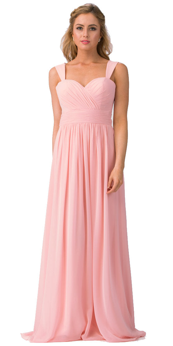 Main image of Sweetheart Neck Pleated Bust Long Bridesmaid Dress