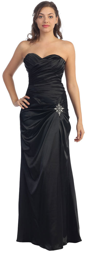 Main image of Strapless Pleated Long Bridesmaid Dress With Brooch Accent