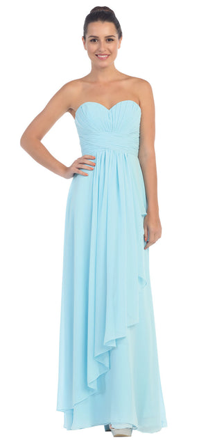 Image of Strapless Pleated & Shirred Bust Long Bridesmaid Dress in Light Blue