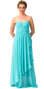 Main image of Strapless Pleated & Shirred Bust Long Bridesmaid Dress