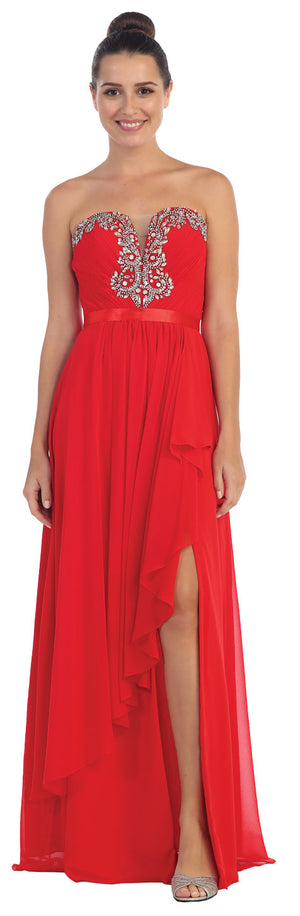Image of Strapless Ruffled Overlay Beaded Long Formal Evening Dress in Red