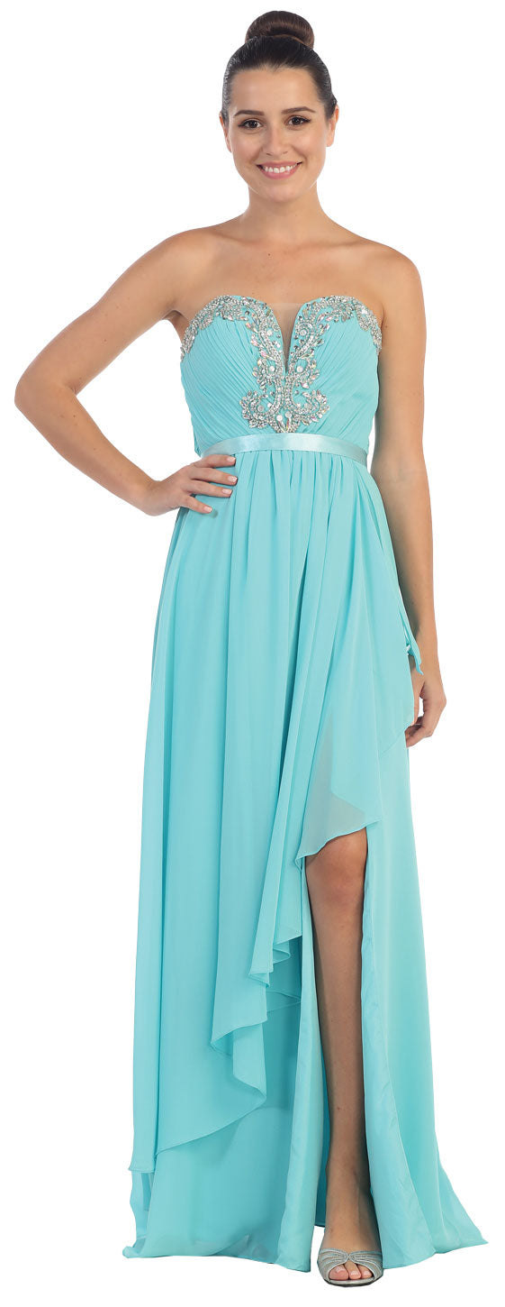 Image of Strapless Ruffled Overlay Beaded Long Formal Evening Dress in Teal Blue
