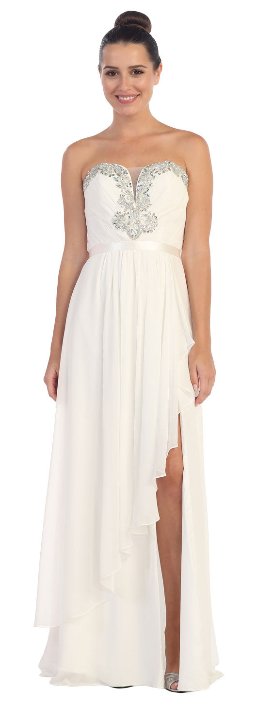 Image of Strapless Ruffled Overlay Beaded Long Formal Evening Dress in White