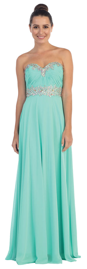 Image of Strapless Rhinestones Empire Bust Formal Evening Dress in Mint