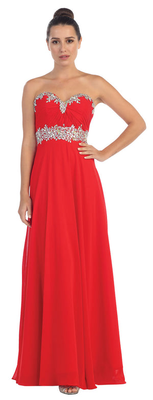 Image of Strapless Rhinestones Empire Bust Formal Evening Dress in Red