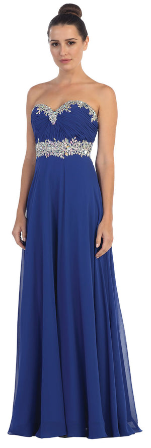 Image of Strapless Rhinestones Empire Bust Formal Evening Dress in Royal Blue