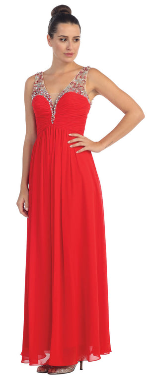 Image of V-neck Bejeweled Bust & Shoulders Long Formal Evening Dress in Red