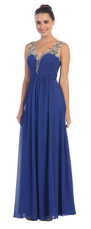 Image of V-neck Bejeweled Bust & Shoulders Long Formal Evening Dress in an alternative image