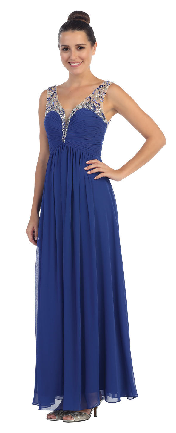 Image of V-neck Bejeweled Bust & Shoulders Long Formal Evening Dress in Royal Blue