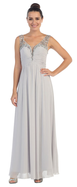 Image of V-neck Bejeweled Bust & Shoulders Long Formal Evening Dress in Silver
