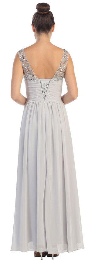 Image of V-neck Bejeweled Bust & Shoulders Long Formal Evening Dress back in Silver