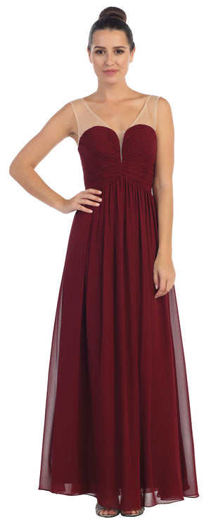 Image of V-neck Mesh Shoulders Shirred Bust Long Bridesmaid Dress in Burgundy