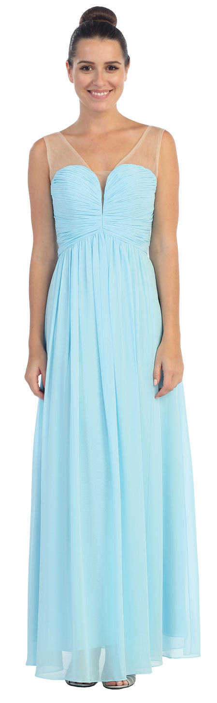 Image of V-neck Mesh Shoulders Shirred Bust Long Bridesmaid Dress in Light Blue