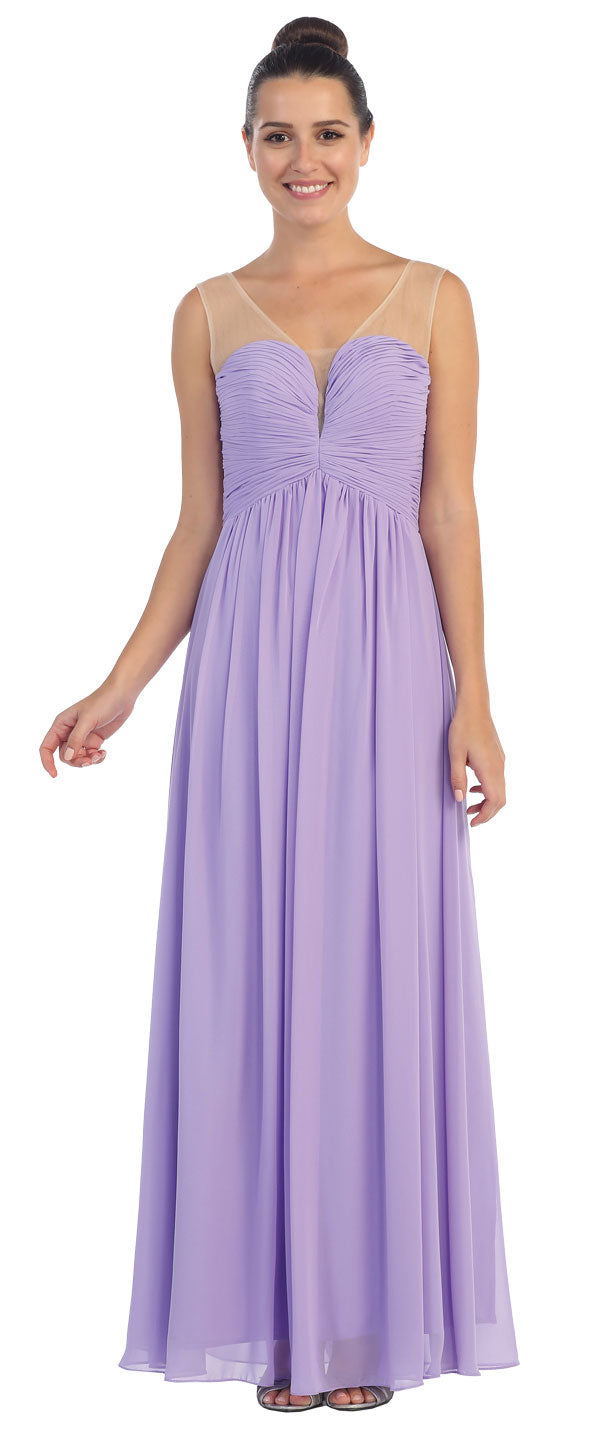 Image of V-neck Mesh Shoulders Shirred Bust Long Bridesmaid Dress in Lilac