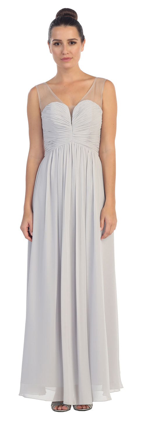 Image of V-neck Mesh Shoulders Shirred Bust Long Bridesmaid Dress in Silver