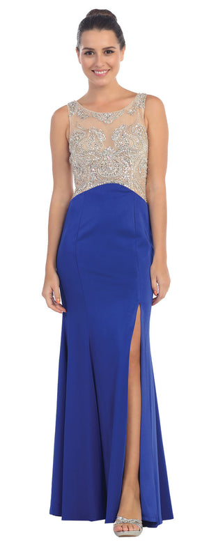 Main image of Rhinestones Mesh Top Flared Skirt Long Prom Dress