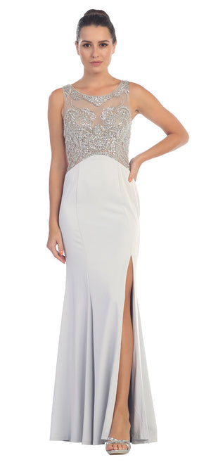 Image of Rhinestones Mesh Top Flared Skirt Long Prom Dress in Silver