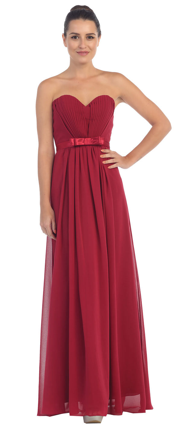 Image of Strapless Pleated Bust Bow Waist Long Bridesmaid Dress in Burgundy