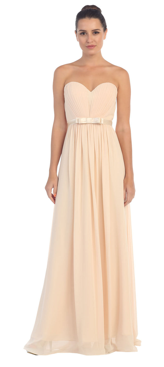 Image of Strapless Pleated Bust Bow Waist Long Bridesmaid Dress in Champaign