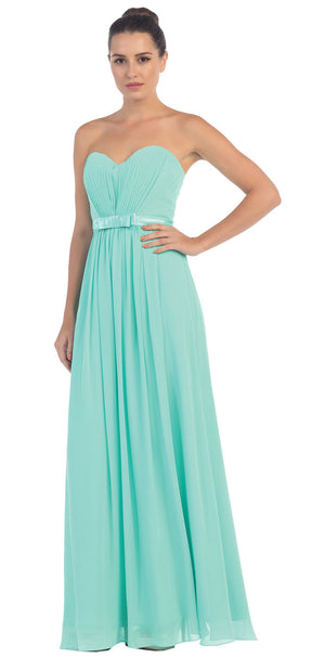 Image of Strapless Pleated Bust Bow Waist Long Bridesmaid Dress in Mint