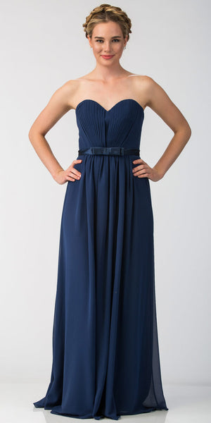 Image of Strapless Pleated Bust Bow Waist Long Bridesmaid Dress in Navy