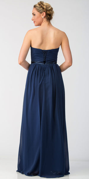 Back image of Strapless Pleated Bust Bow Waist Long Bridesmaid Dress