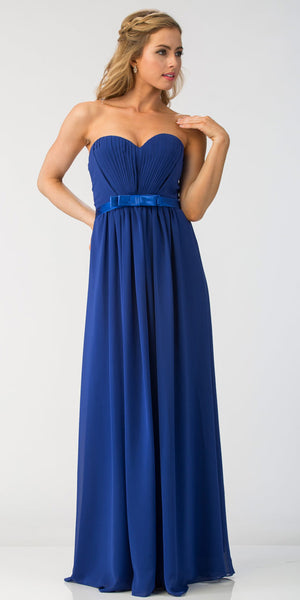 Main image of Strapless Pleated Bust Bow Waist Long Bridesmaid Dress