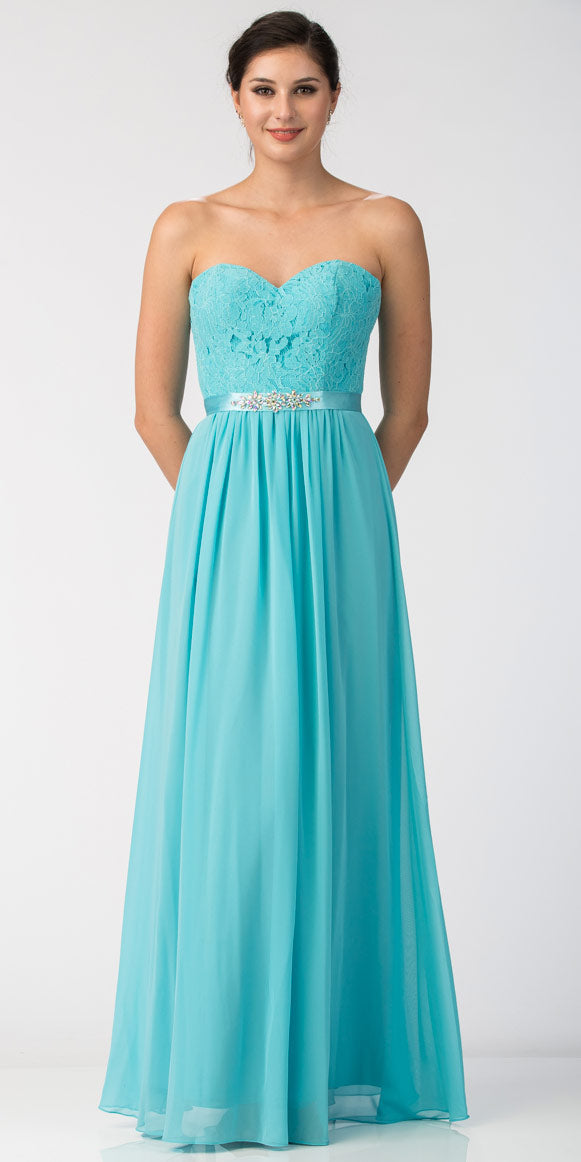 Image of Strapless Floral Lace Bust Long Formal Bridesmaid Dress in Tiffany Blue