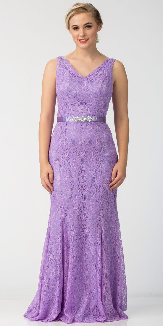 Main image of Floral Lace V-neck Floor Length Formal Bridesmaid Dress