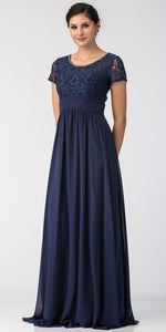 Main image of Floral Lace Top Short Sleeves Long Bridesmaid Mob Dress