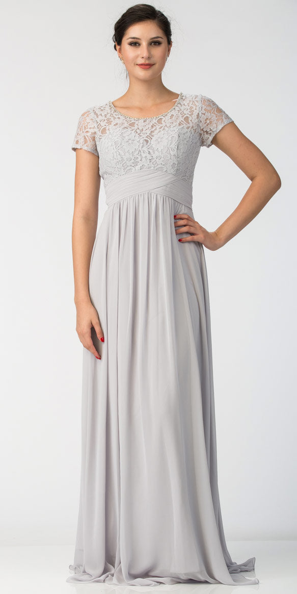 Image of Floral Lace Top Short Sleeves Long Bridesmaid Mob Dress in Silver