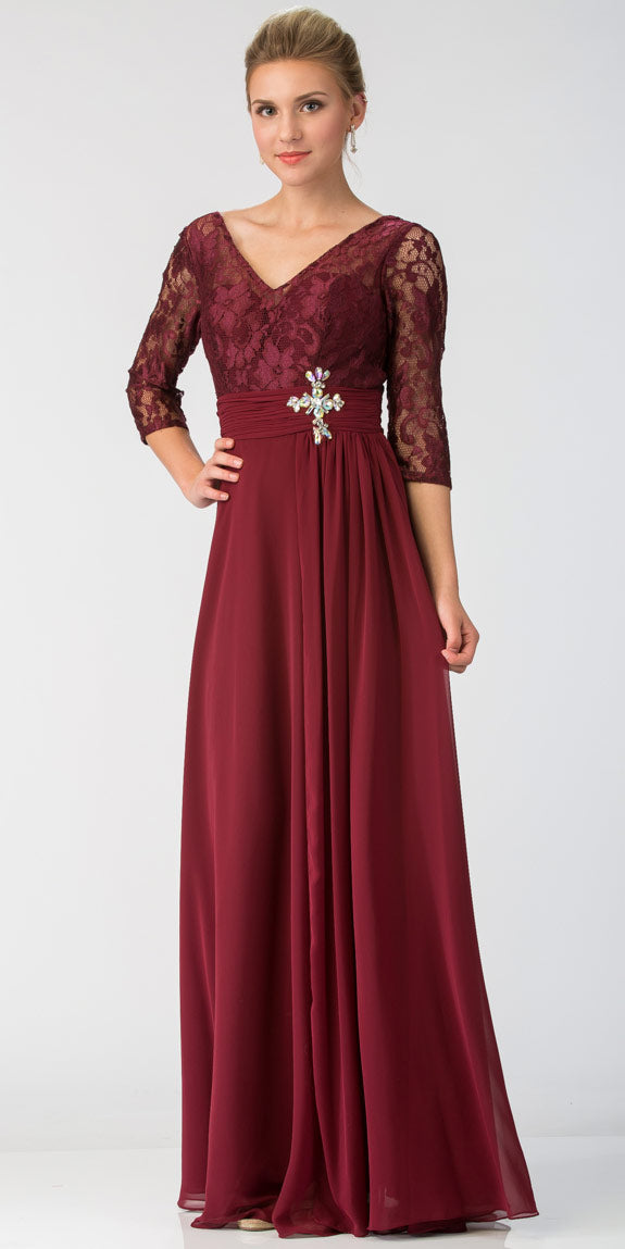 Main image of V-neck Sheer Sleeves Floral Lace Bust Long Formal Mob Dress