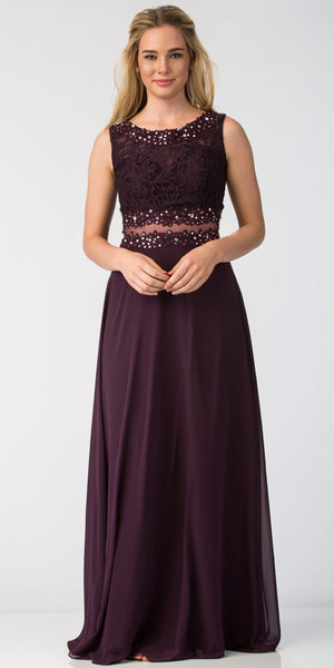 Image of Mock Two Piece Lace Bodice Floor Length Prom Dress in Black