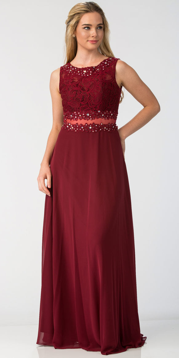 Main image of Mock Two Piece Lace Bodice Floor Length Prom Dress