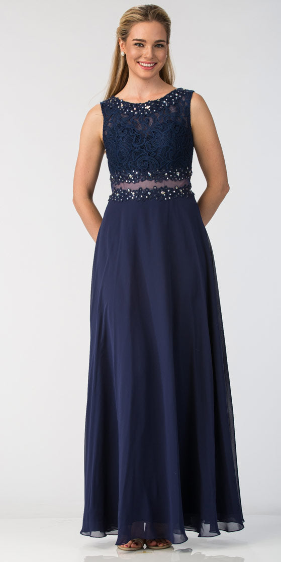 Image of Mock Two Piece Lace Bodice Floor Length Prom Dress in Navy