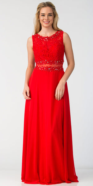 Image of Mock Two Piece Lace Bodice Floor Length Prom Dress in Red